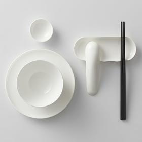哲品陶瓷餐具套装福碗 家用饭碗汤碗菜盘调味酱碟子实木筷6件套组