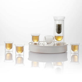 哲品 花茶玻璃茶具套装带茶盘储水 灵光家用红茶泡茶器四合一全套