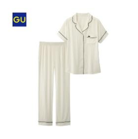 GU睡衣女士家居服性感简约翻领短袖長裤套装夏季/M号