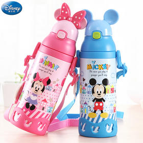 迪士尼儿童吸管保温杯不锈钢便携小孩防漏水壶小学生直饮宝宝水杯