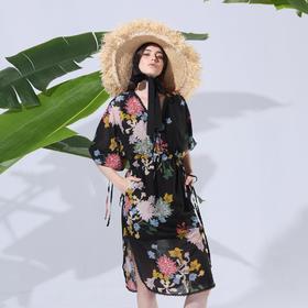 SYUSYUHAN设计师 摇曳生花浪漫V领蕾丝镶边和风度假直筒连衣裙