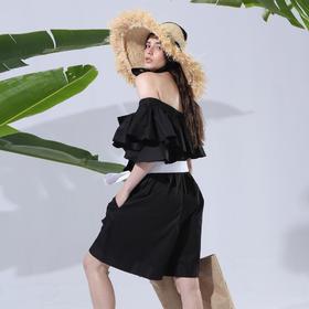 SYUSYUHAN设计师 chic两种穿法荷叶边露肩大口袋腰带大脚连体短裤