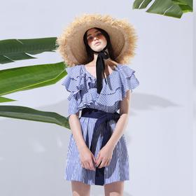 SYUSYUHAN设计师女装 法式经典条纹浪漫荷叶边大摆腰带度假连衣裙