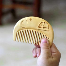 周广胜天然木梳子黄杨木梳子雕花定制木梳子刘海梳可爱儿童礼物梳