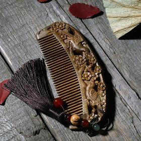 周广胜绿檀木梳子细齿天然木梳子正宗檀香木梳子送母亲结婚送礼物