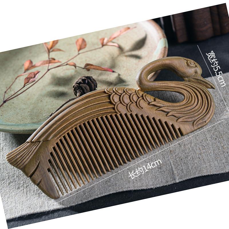 周广胜天鹅绿檀木梳子雕花便携细齿木梳送女友礼品创意礼物细齿梳 商品图2