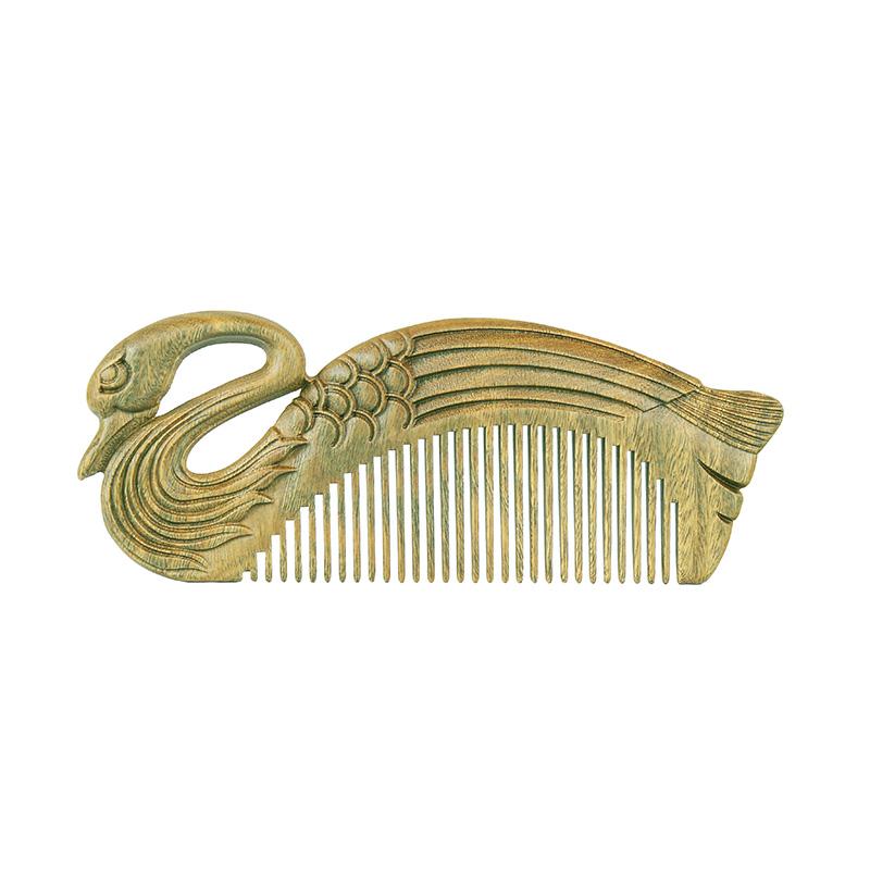 周广胜天鹅绿檀木梳子雕花便携细齿木梳送女友礼品创意礼物细齿梳 商品图3