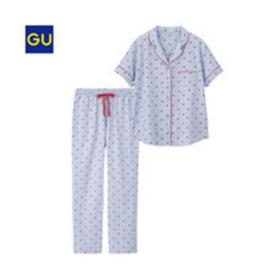 GU睡衣女士家居服性感简约翻领短袖長裤套装夏季女/M