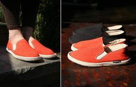 红色男女同款千层底布鞋