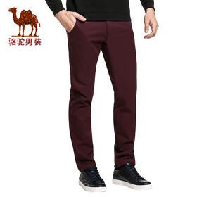 【领券买 更划算】【骆驼&熊猫联名系列男装】 加绒加厚商务休闲裤修身长裤D5P260073X