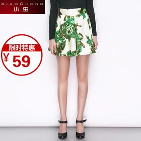 【精选特惠 】【骆驼子品牌-小虫】欧美时尚短裙收腰显瘦热带印花显瘦半裙女短裙X5ABQ0072