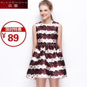 【精选特惠 】【骆驼子品牌-小虫】时尚复古收腰显瘦印花连衣裙女无袖蓬蓬公主裙X5ALY0088