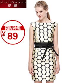 【精选特惠 】【骆驼子品牌-小虫】小虫 印花裙子收腰无袖套头露背连衣裙X5ALY0030