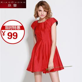 【精选特惠】【骆驼子品牌-小虫】小虫夏季新款欧美时尚红色短袖圆领高腰修身显瘦连衣裙女短裙X5CLY0404