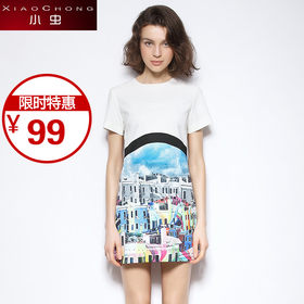 【精选特惠 】【骆驼子品牌-小虫】小虫 修身短裙个性抽象印花圆领短袖连衣裙X5BLY0147