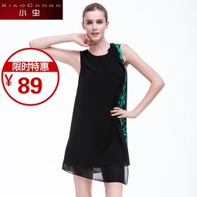 【精选特惠 】【骆驼子品牌-小虫】欧美时尚豹纹拼接性感无袖圆领显瘦连衣裙女X5BLY0122