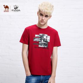 【骆驼&熊猫联合系列】 夏季小清新圆领男士t恤青年休闲短袖T恤XB5227049