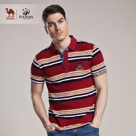 【骆驼&熊猫联名系列】夏条纹男士衬衫领棉T恤男式短袖t恤衫XB5224008
