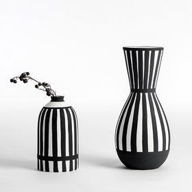 纳谷 | Fresh系列哑光黑条纹花瓶