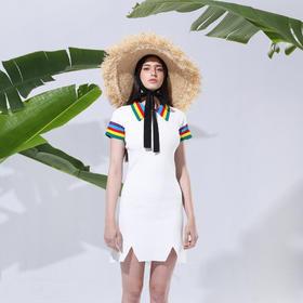 SYUSYUHAN设计师品牌 彩虹POLO领独特开叉设计修身减龄A摆连衣裙