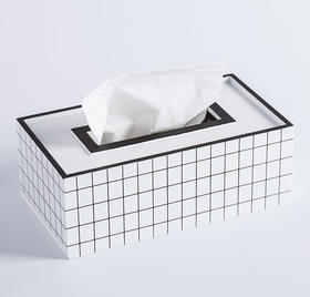 Domain·黑白格纹纸巾盒