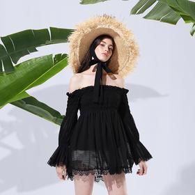 SYUSYUHAN设计师品牌 松紧压褶荷叶边一字露肩领蕾丝拼接宽松上衣