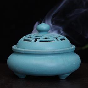 印度香具三足陶瓷香炉-墨绿色