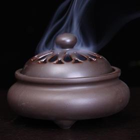 印度香具三足陶瓷香炉-咖啡色