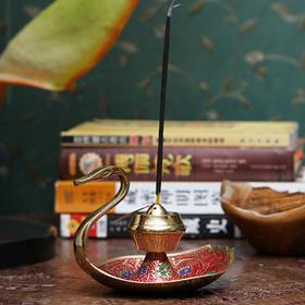 印度香具天鹅铜制彩绘香具-红色