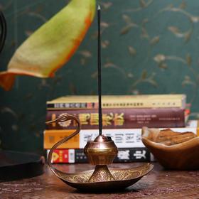 印度香具 天鹅铜制彩绘香具-咖啡色