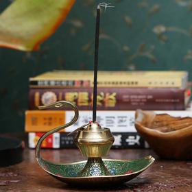 印度香具天鹅铜制彩绘香具-绿色