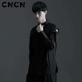 CNCN男装 暗黑风个性穿绳设计男士衬衫 黑色长袖衬衣CNBC29032