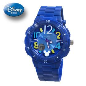 迪士尼米奇儿童手表蓝色数字双显防水运动表
