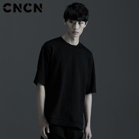 CNCN男装 夏季个性男生字母T恤 黑色圆领潮款体恤CNBT29056