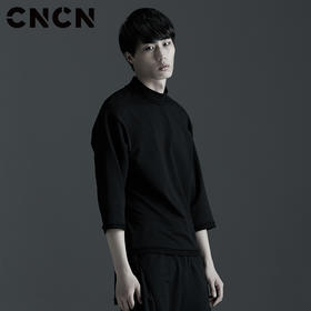 CNCN男装 黑色七分袖T恤 宽松卫衣料男士T恤休闲上衣CNBT29047