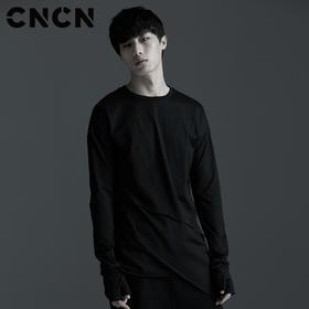 CNCN男装 暗黑风个性设计长袖T恤 男黑色纯棉青年体恤CNBT39035