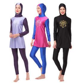 印花两件套:衣帽连体+泳裤 | 穆斯林女士游泳衣 | HW10H |