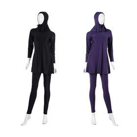纯色三件套:泳衣+泳裤+泳帽  | 穆斯林女士游泳衣 | HW10B