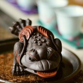原矿紫砂三足金蟾蜍茶宠摆件精品可养茶玩具个性创意招财源纯手工