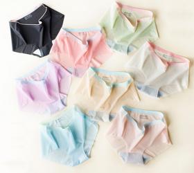 【100万日本女性标配】正品MUMUWIE一片式无痕冰丝内裤 甲壳素纤维马卡龙撞色冰丝内裤 独立包装