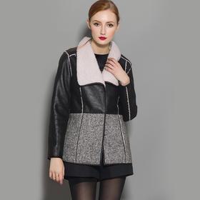 【骆驼子品牌-小虫】小虫冬季新品欧美皮革时尚拼接百搭撞色加绒保暖翻领外套女X5DW0768D