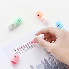 可爱彩色药丸荧光笔 6色套装  文具