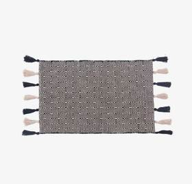 Twine系列格纹流苏印度手工地毯