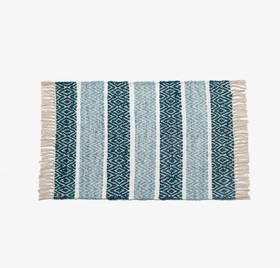 Twine系列蓝色几何条纹印度手工地毯