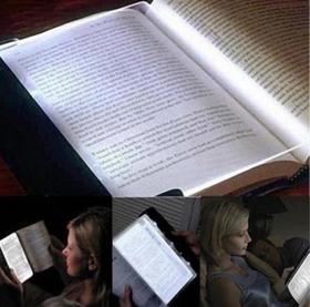 超轻薄平板LED护眼夜视读书灯, 夜晚阅读夹书灯 可调节亮度