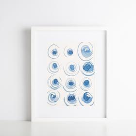 Hint系列蓝色旋涡抽象装饰画