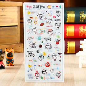 森语可爱呆萌女孩透明PET贴纸DIY手机装饰贴纸(6张入)