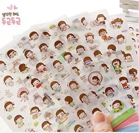 君道momoi女孩装饰透明PET贴纸可爱手机 日记贴纸(6枚入)