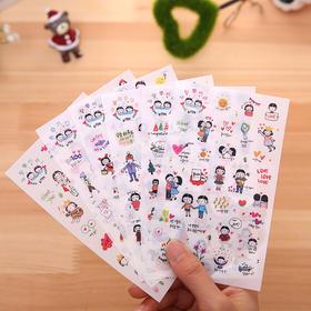君道中分头女孩的幸福生活套装贴纸手机、日记装饰贴纸6入