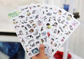 君道 可爱女孩与猫咪组合贴纸 手机、日记DIY装饰贴纸